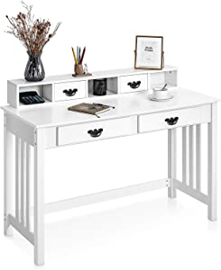 Writing Desk with 2-Tier Hutch 4 Drawers, Home Office Computer Desk Sturdy Spacious Desktop Removable Floating Organizer Wooden, Modern PC Laptop Work Station Study Table Vanity for Small Space, White