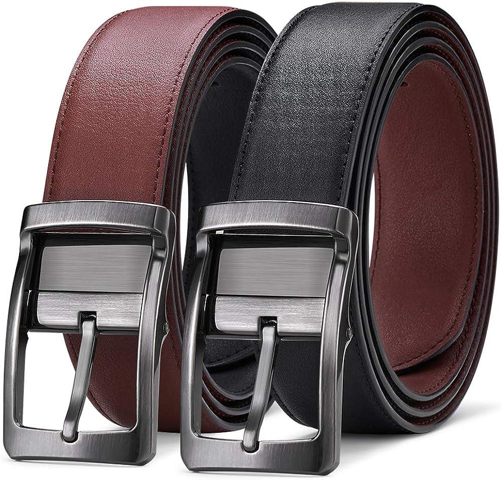 Cinturón Hombre Cuero Reversible Bicolor Negro y Marrón con Hebilla Giratoria