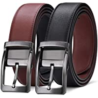 Mens Leather Belt Reversible Black Belt with Rotated Buckle for Men