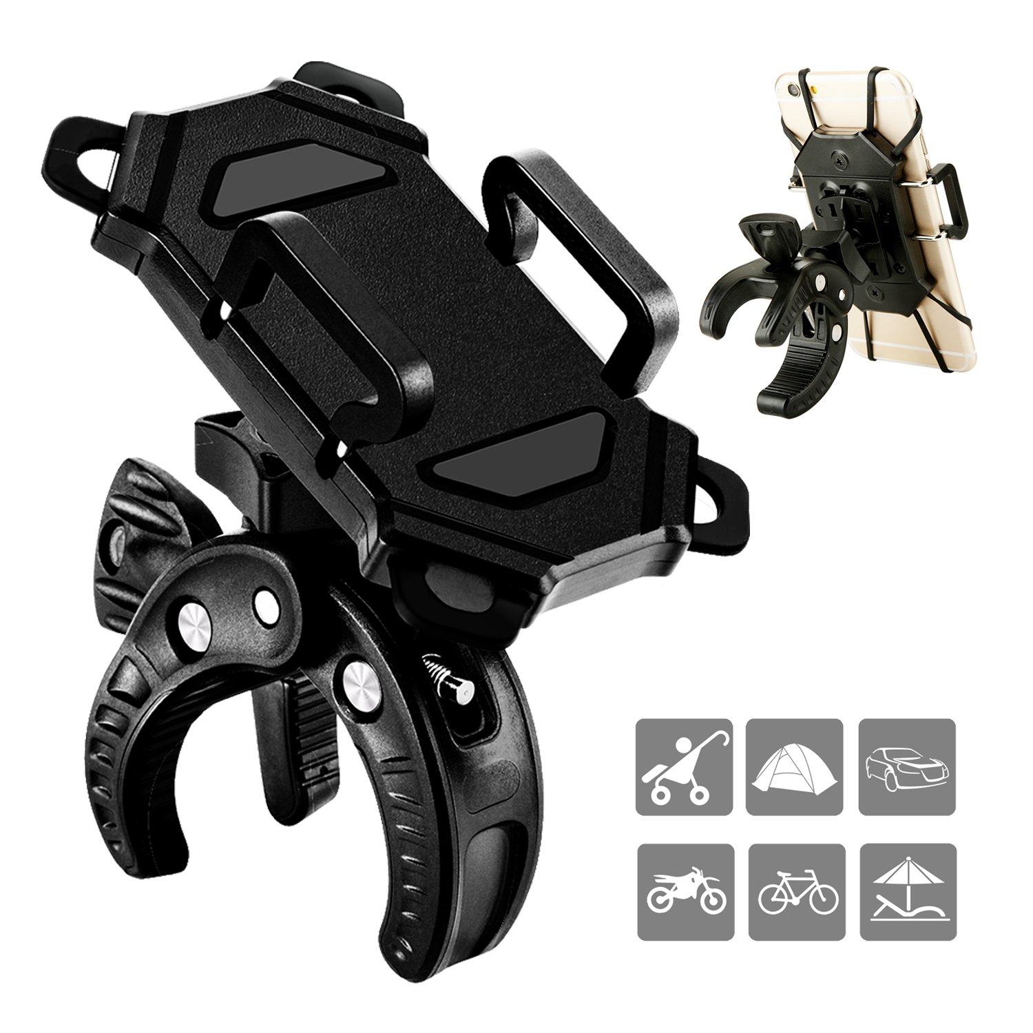 Bike Phone Holder - Bike & Motorcycle Cell Phone Mount Universal Bicycle Handlebar Mount Cellphone Holder for iPhone 8 7s 6s Plus 5s Android Smartphone with 360 Degree Rotation and 4 Rubber Bands