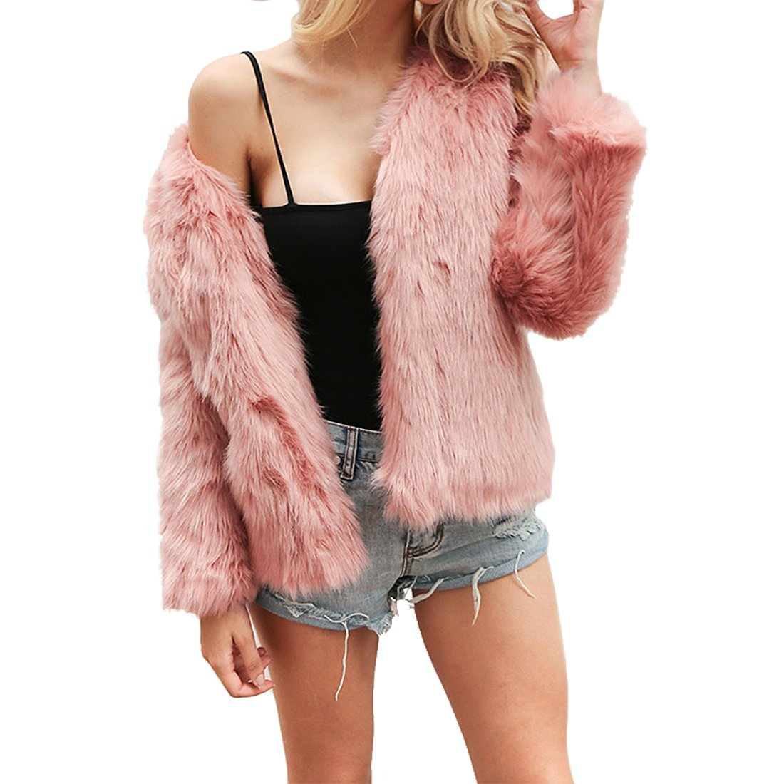 Women's Winter Warm Fluffy Faux Fur Coat Hooded Jacket Cardigan Outerwear Tops for Party Club Cocktail (Pink,US 0-2 = Asian S)