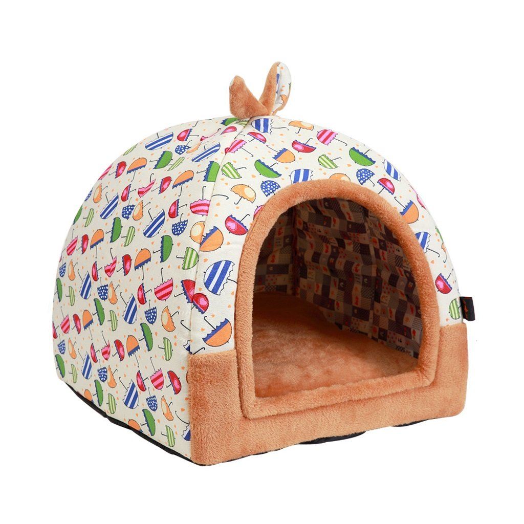 S Small tree Dog kennel, washable pet warmth nest, small cat and dog general house, dual use pet sofa (Size   S)