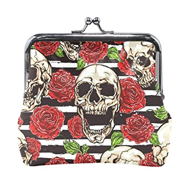 Amazon.com: Laughing Skull Head Red Roses Cartera monedero ...