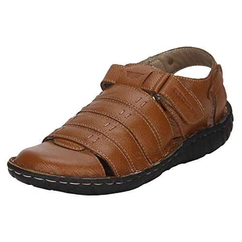 Red Tape Men's Tan Leather Sandals - 11