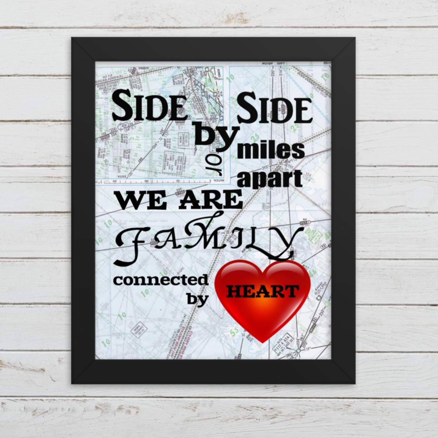 879b2c3599357 Amazon.com: Map Art Print Family Gift, Side by Side or Miles Apart ...