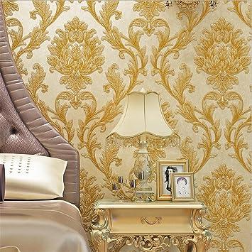 Hu0026M Tapete Dicker Damastart 3D Relief Vlies Dekoration Wohnzimmer  Restaurant TV Wand Schlafzimmer Tapete  53cm