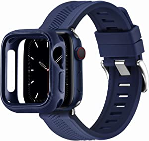 BesBand Compatible with Apple Watch Bands 44mm 42mm 40mm 38mm, Soft Silicone Waterproof Sport Band Loop with Protective Case for iWatch Series 6/5/4/3/2/1&SE (Navy Blue/Silver, 42mm/44mm)