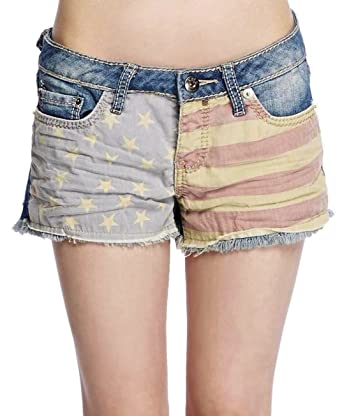 fee5e11d11 YMI Womens/Junior Patriotic Denim Shorts Frayed Hem at Amazon ...