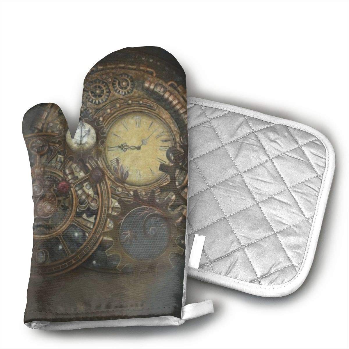 GRSTfsm Steampunk Clocks Oven Mitts,Heat Resistant Oven Gloves and Pot Holders, Safe BBQ Cooking Baking Grilling