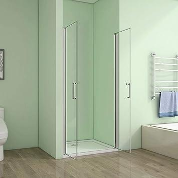 Mampara de ducha con puerta doble, puerta de nicho: Amazon.es: Bricolaje y herramientas