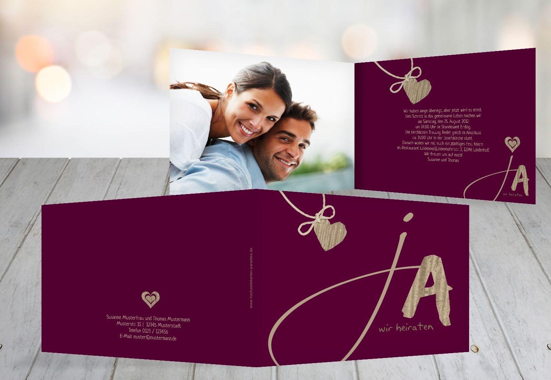 Wedding invitation ja dunkelrotlila 80 karten amazon co uk kitchen home