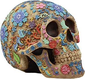Gifts & Decor Ebros Colorful Day of The Dead Floral Sugar Skull Statue Dias De Los Muertos Flora and Fauna Flower Skeleton Head Sculpture