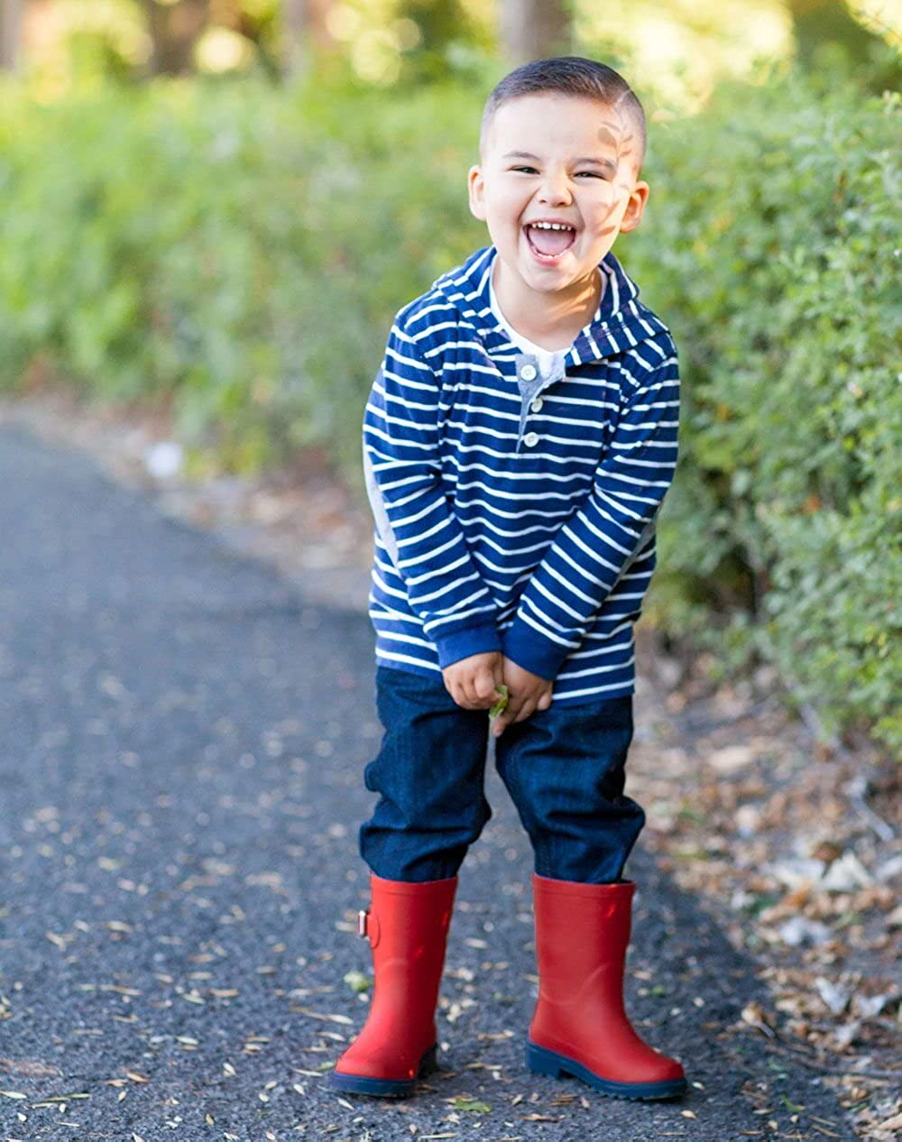 OAKI Kids Rubber Rain Boots with Buckle