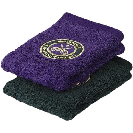 Wimbledon Mens – Juego de toallas para invitados (Pack de 2 – Verde y morado