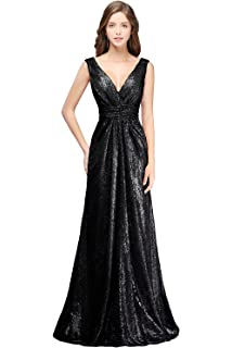 b63d19eb085 MisShow Women s V Neck Ruched Ruffle Long Sequins Bridesmaid Dress Prom Evening  Gowns