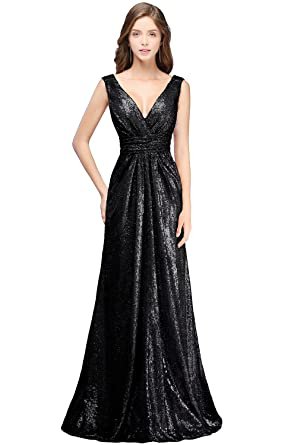 MisShow Women Sparkly Sequins Bridesmaid Dress Long V-Neck Prom ...