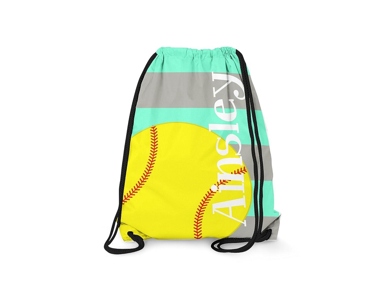 Personalized Drawstring Children's Backpack- Softball Stripes