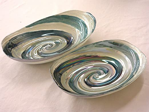 Christmas Tablescape Decor - Shades of ocean blue green and white wave swirl serving dishes - Set of 2