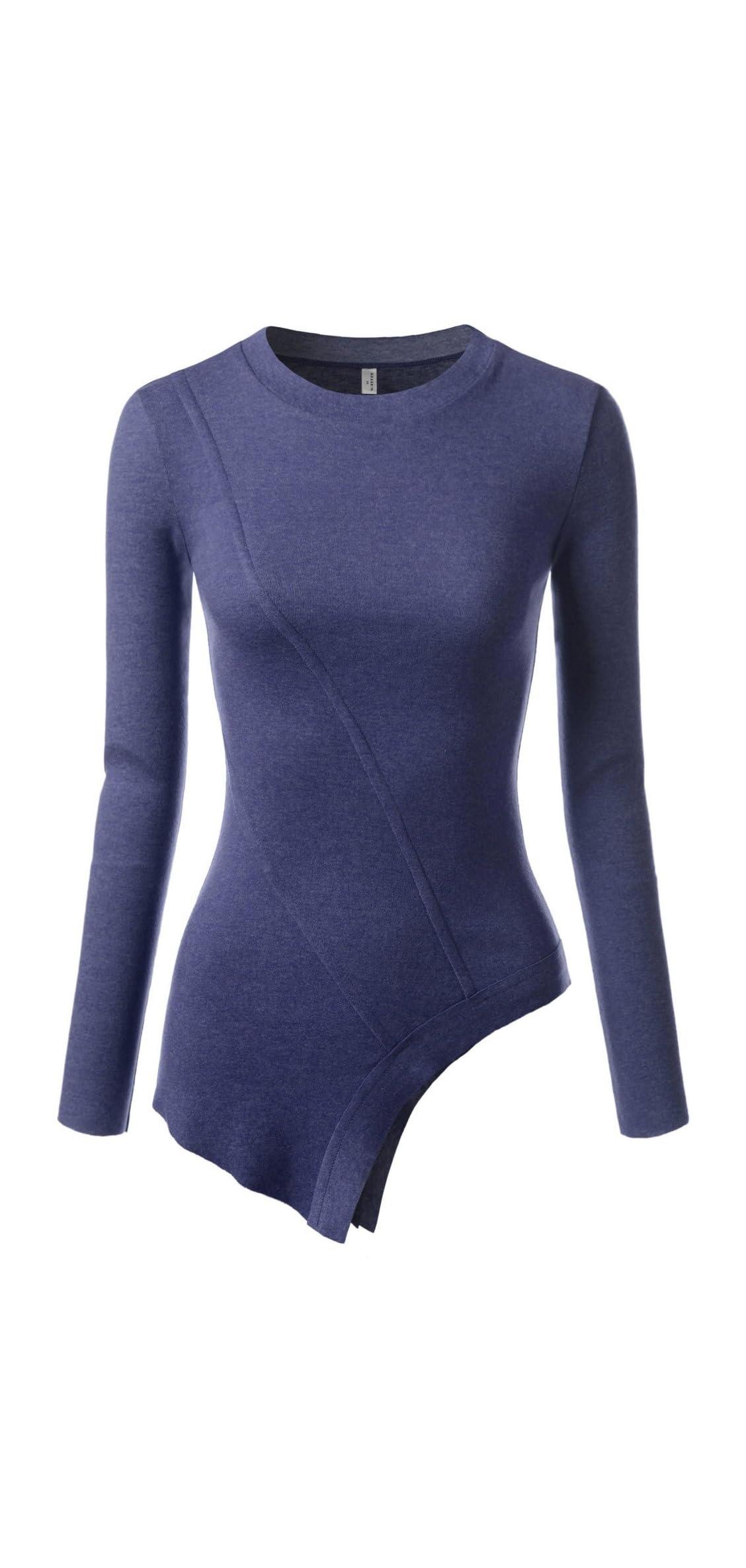 Slim Long Sleeve V Neck Henley Shirts Asymmetrical Tunic