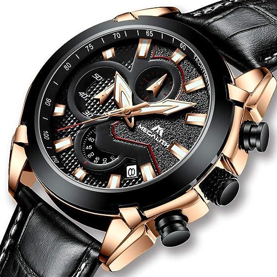 Relojes Hombre Relojes Grandes de Pulsera Deportivo Militar Cronógrafo Impermeable Diseñador Reloj de Correa de Goma Azul de Hombre Analógico Calendario: ...