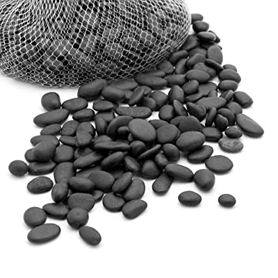 Royal Imports 5lb Small Decorative Ornamental River Pebbles Rocks for Landscaping, Home Decor etc. (Not for Aquariums) with Netted Bag, Black : Garden & Outdoor