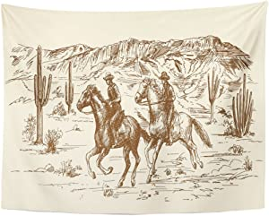 TOMPOP Tapestry Ranch Wild West Desert Cowboys Sketch Western Landscape Home Decor Wall Hanging for Living Room Bedroom Dorm 60x80 Inches