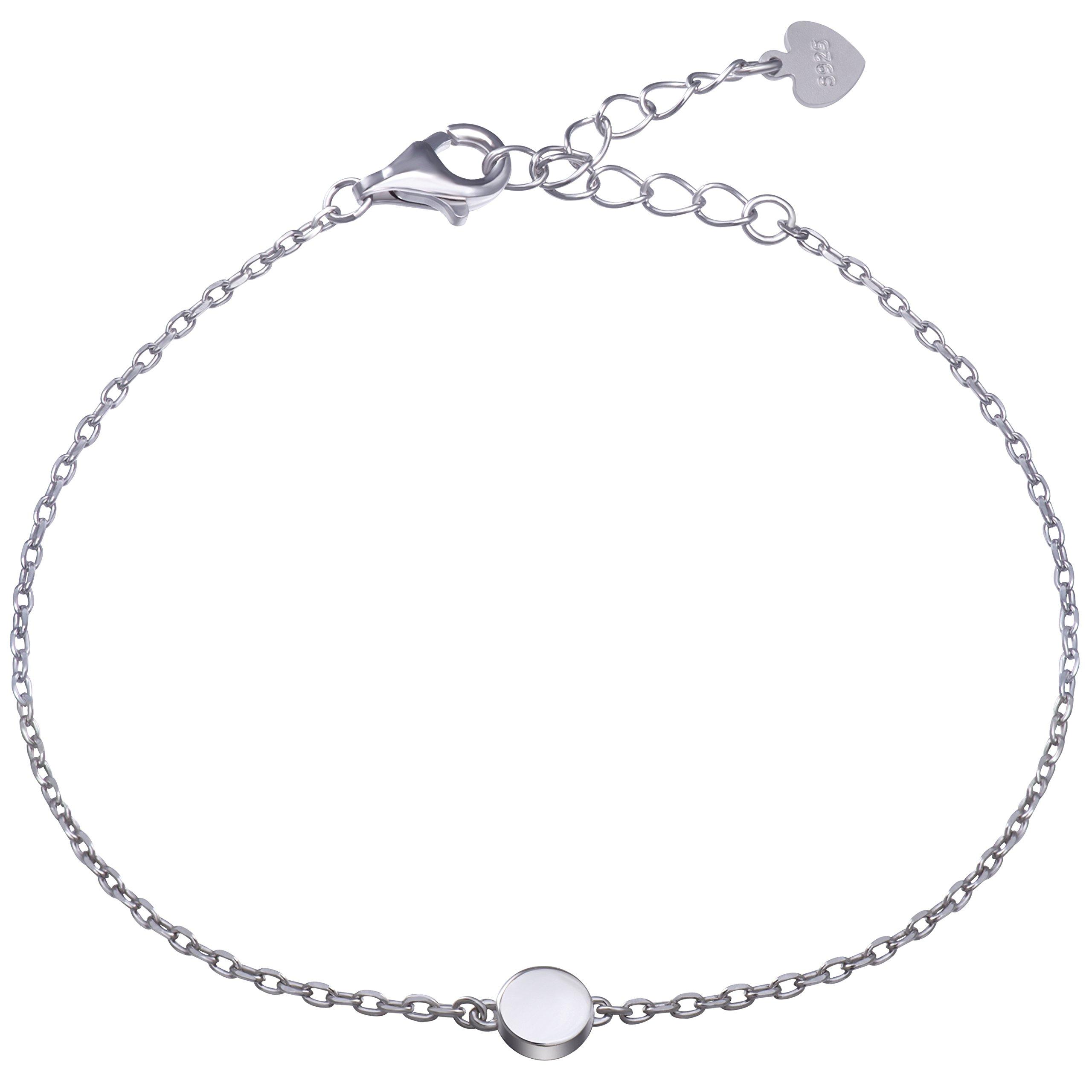 Sterling Silver Dot Circle Bracelet Round Disc Chain Bracelet Tiny Bead Minimalist Bracelet (silver)