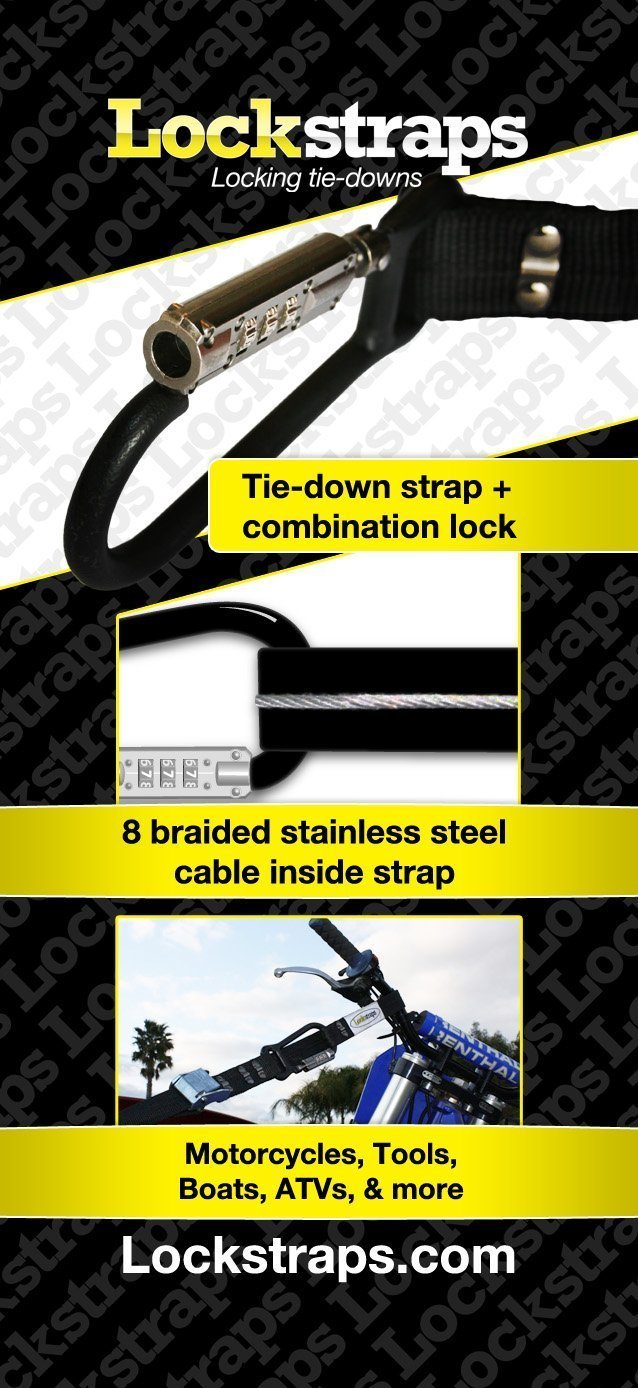 Lockstraps Carabiner Combination helmet lock with 2ft Security Strap