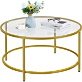 Yaheetech 36in Round Glass-Top Coffee Table,Mustard Gold Modern Accent Side Sofa Table w/Protective Foot Pads,Metal Structure