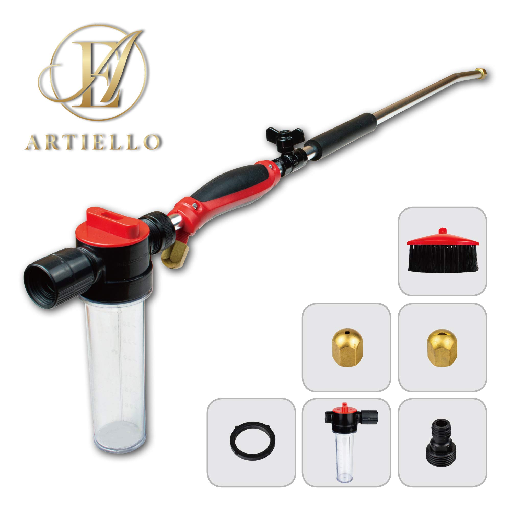 ARTIELLO Hydro Jet High Pressure Power Washer Wand with Soap Dispenser and Brush, 30 Inch Extendable Sprayer Hose Nozzle with Patio and Garden Hose End, Car Washing and Glass Cleaning Tool with 2 Tips by ARTIELLO