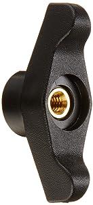 "DimcoGray Black Thermoplastic Wingnut Knob Female, Thru Hole Brass Insert: 1/4-20"" Thread x 5/8"" Depth, 2-1/2"" Diameter x 1-3/64"" Height x 7/8"" Hub Dia x 3/8"" Hub Length (Pack of 10)"