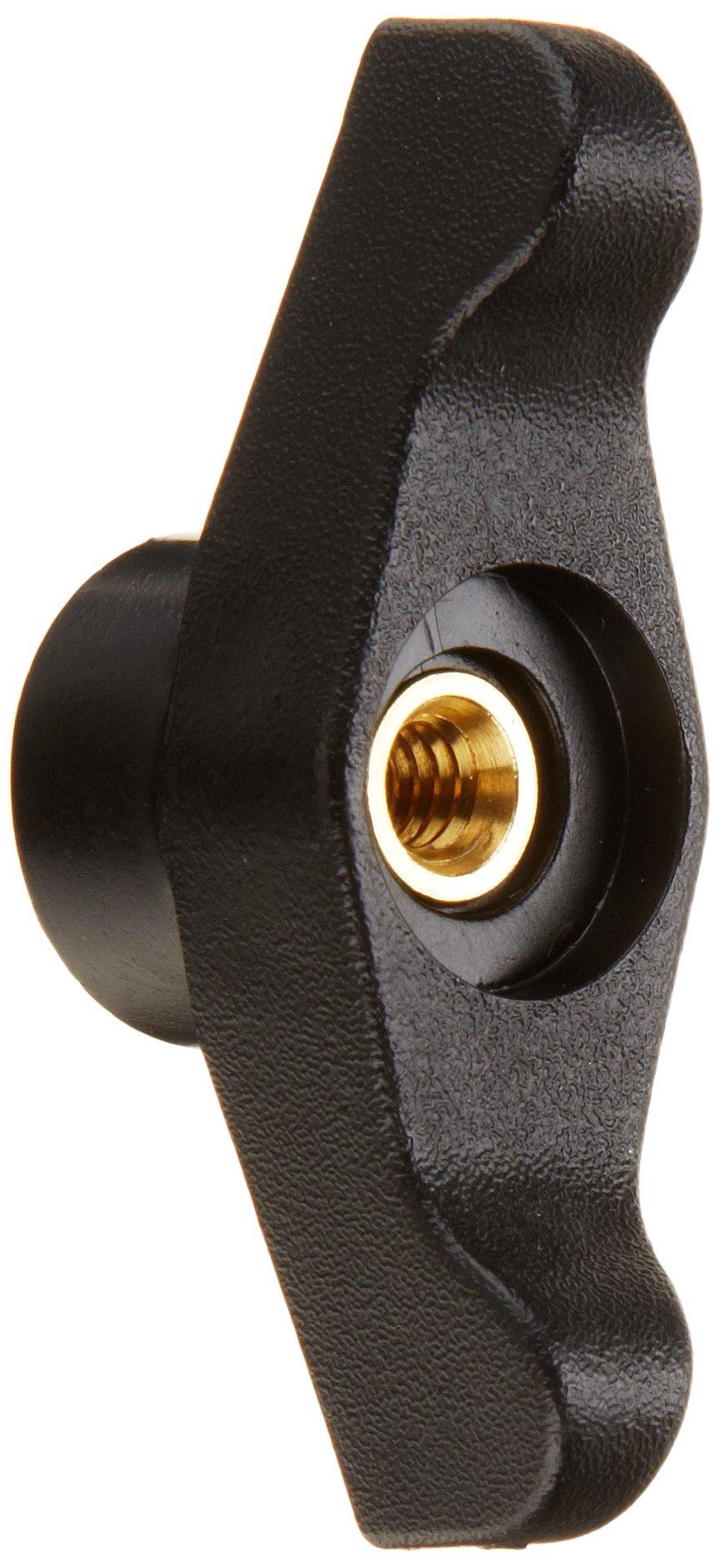DimcoGray Black Thermoplastic Wingnut Knob Female, Thru Hole Brass Insert: 1/4-20'' Thread x 5/8'' Depth, 2-1/2'' Diameter x 1-3/64'' Height x 7/8'' Hub Dia x 3/8'' Hub Length (Pack of 10)