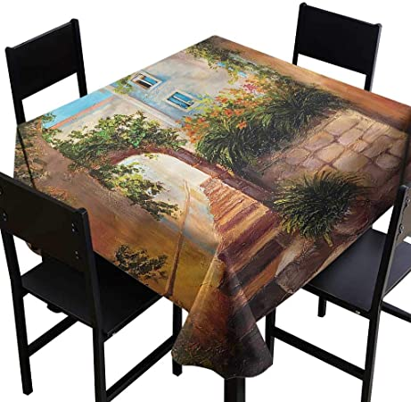 Rustic Resistant Table Cover Stone House Gate Entrance For Banquet Decoration Dining Table Cover 70 X 70 Inch Amazon Co Uk Kitchen Home