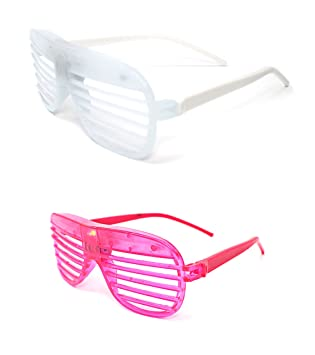 eee74d2a713 Mixed pack 1 White 1 Pink Colour Flashing Retro LED Shutter Style Glasses  Slotted for Adults
