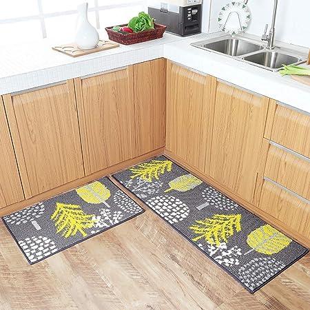 Carvapet 2 Pezzi Tappetini da Cucina Antiscivolo Supporto in Gomma Zerbino Lavabile Set Tappeto in Microfibra