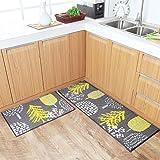 U'Artlines Juego de 2 alfombras de cocina antideslizantes y alfombras de cocina, parte trasera de goma duradera, lavable a máquina (45 x 70 x 45 cm), árbol)