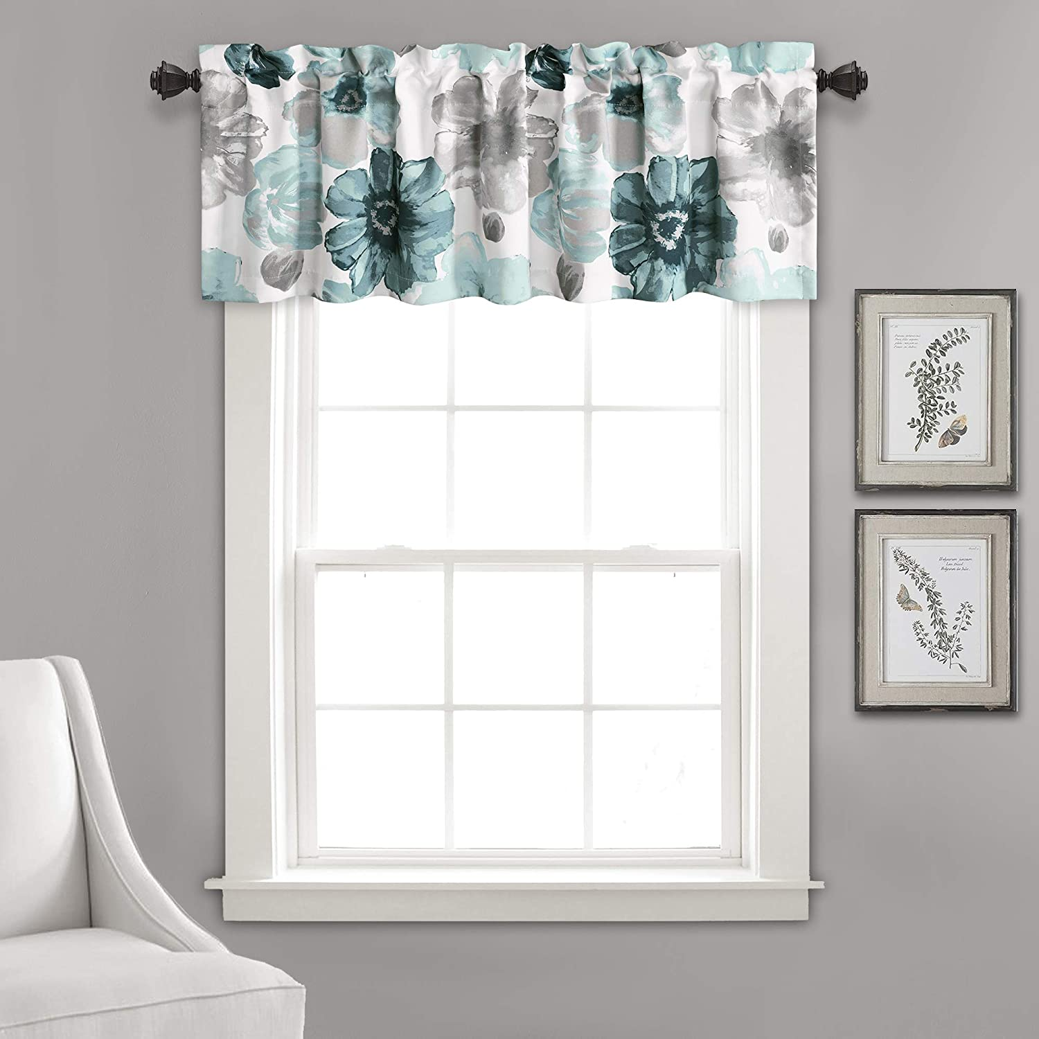 "Lush Decor Leah Floral Window Curtain Valance, 18"" x 52"", Blue, L"