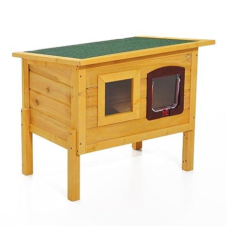 Pawhut gato casa mascotas jugar casa techo impermeable para exterior de madera de jardín Kitty refugio