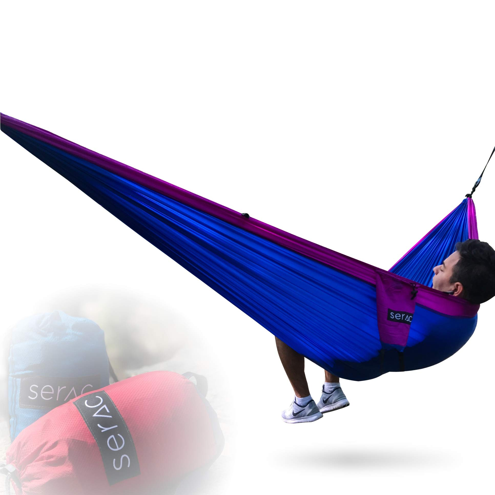 Serac [Premium Double Hammock & Strap Bundle] Sequoia XL Portable Double Camping Hammock with Ripstop Nylon and Quick-Hang Suspension System (Thistle Purple/Blue) by Serac