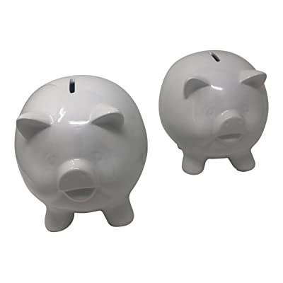 BULK PARADISE Paintable Craft White grazed Porcelain Piggy Bank for Kids 2 Pack: Toys & Games