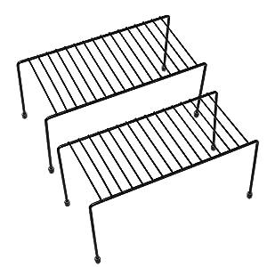 Kitchen Shelves, Cabinet Organization Mini Storage Shelf, Black,Set of 2