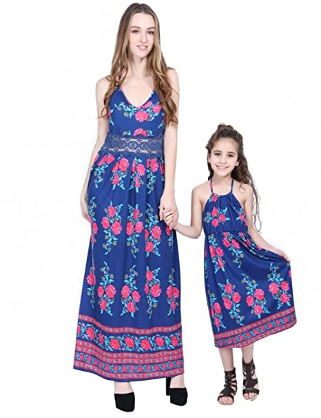 d67c82887802 Mommy and Daughter Beach Dresses Floral Mother and Me Long Maxi Dresses  Family Outfits at Amazon Women's Clothing store: