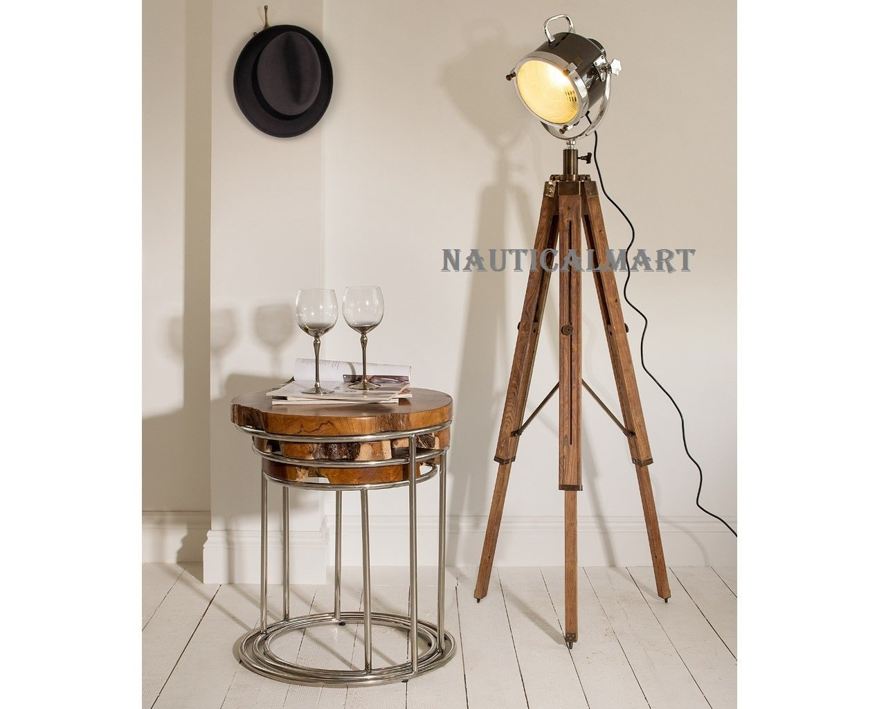 Vintage Wooden Tripod Spotlight Nautical Floor Lamp Stand Lighting Home Decor By Nauticalmart
