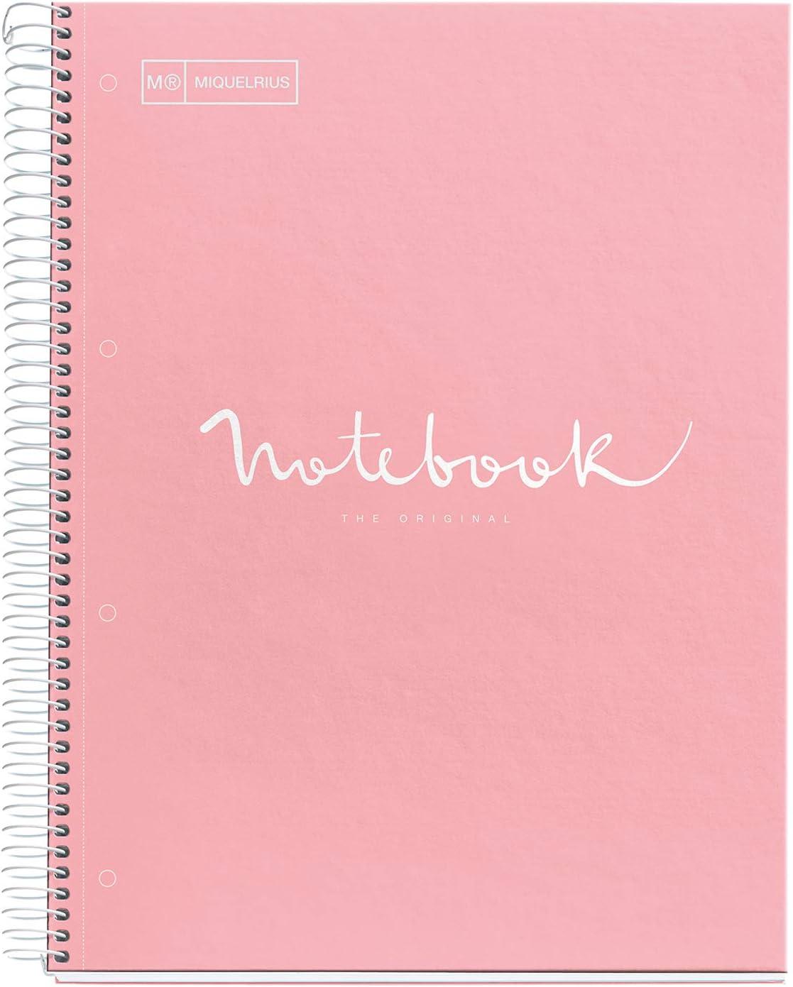 MIQUELRIUS - Cuaderno A4 Puntos Notebook Emotions - 1 franja de color, 80 Hojas con rayado punteado (Dots), Papel 90g Microperforado con 4 Taladros para 4 anillas, Cubierta de Cartón Extraduro, Color