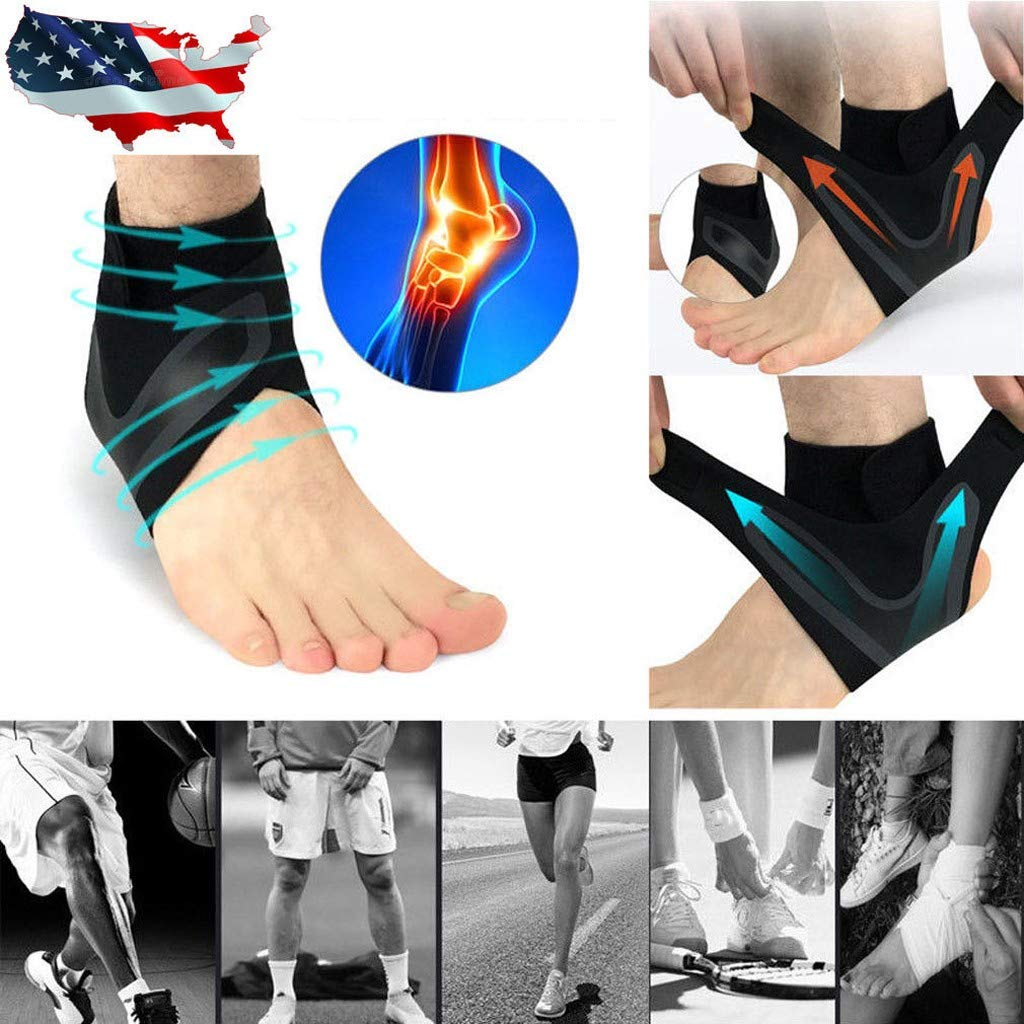 Usstore  1PC Sports Protect Ankle Socks Adjustable Anti-Sprain Ankle Support Elastic Brace Guard Football Basketball Sock (XL, B(Left)) by Usstore  (Image #2)