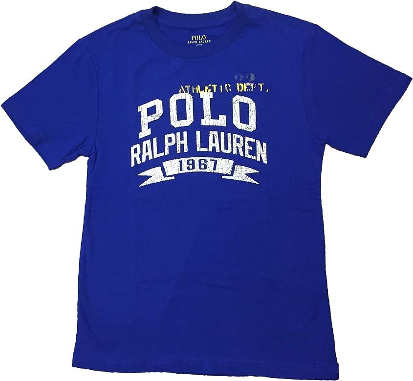 Polo Ralph Lauren- Camiseta Manga Corta Azul/Blanco Talla 8 AÑOS ...