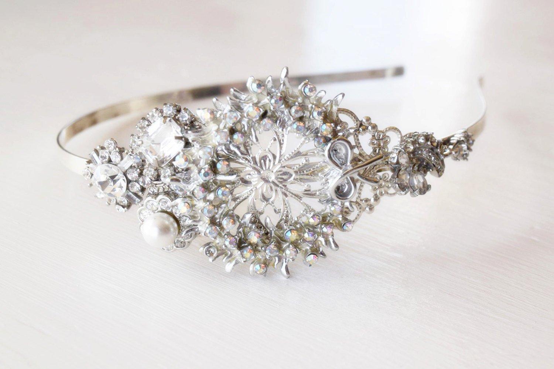 Silver Christmas Wreath - Christmas Side Tiara - Christmas Headband - Adult Headband - Aurora Borealis - Vintage Jewelry Collection