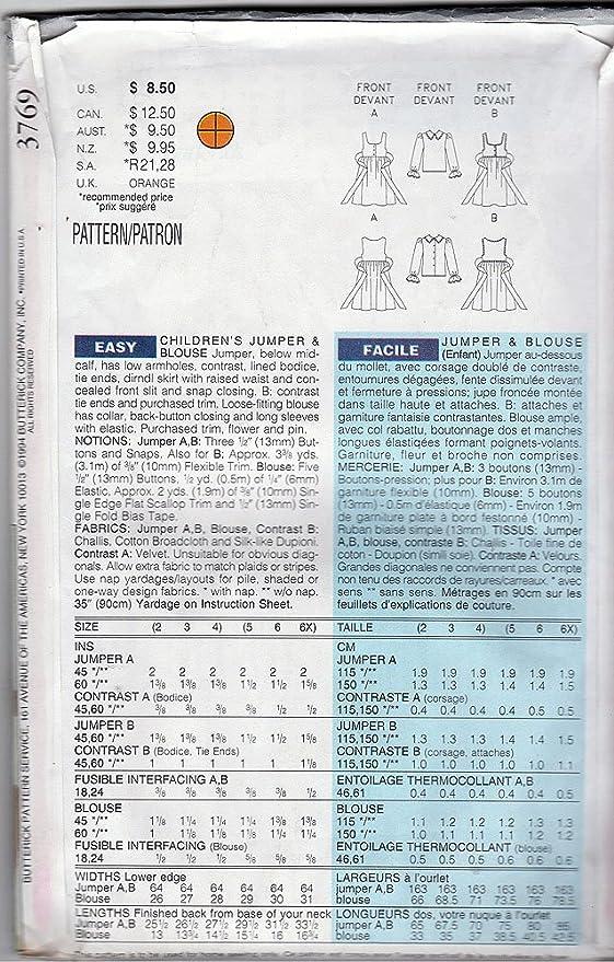 Butterick patrón de costura para 3769 © 1994 de los niños Jersey y ...