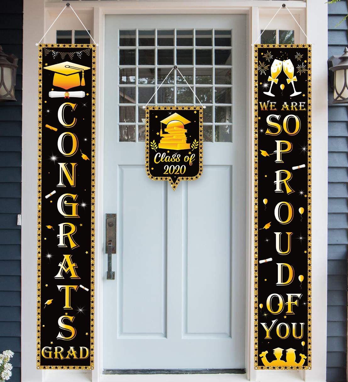 luck sea 3PCS Graduation Banners Party Supplies 2020 Decorations Door Porch Sign- Congrats Grad & So Proud of You Hanging Wall Decor Indoor Outdoor