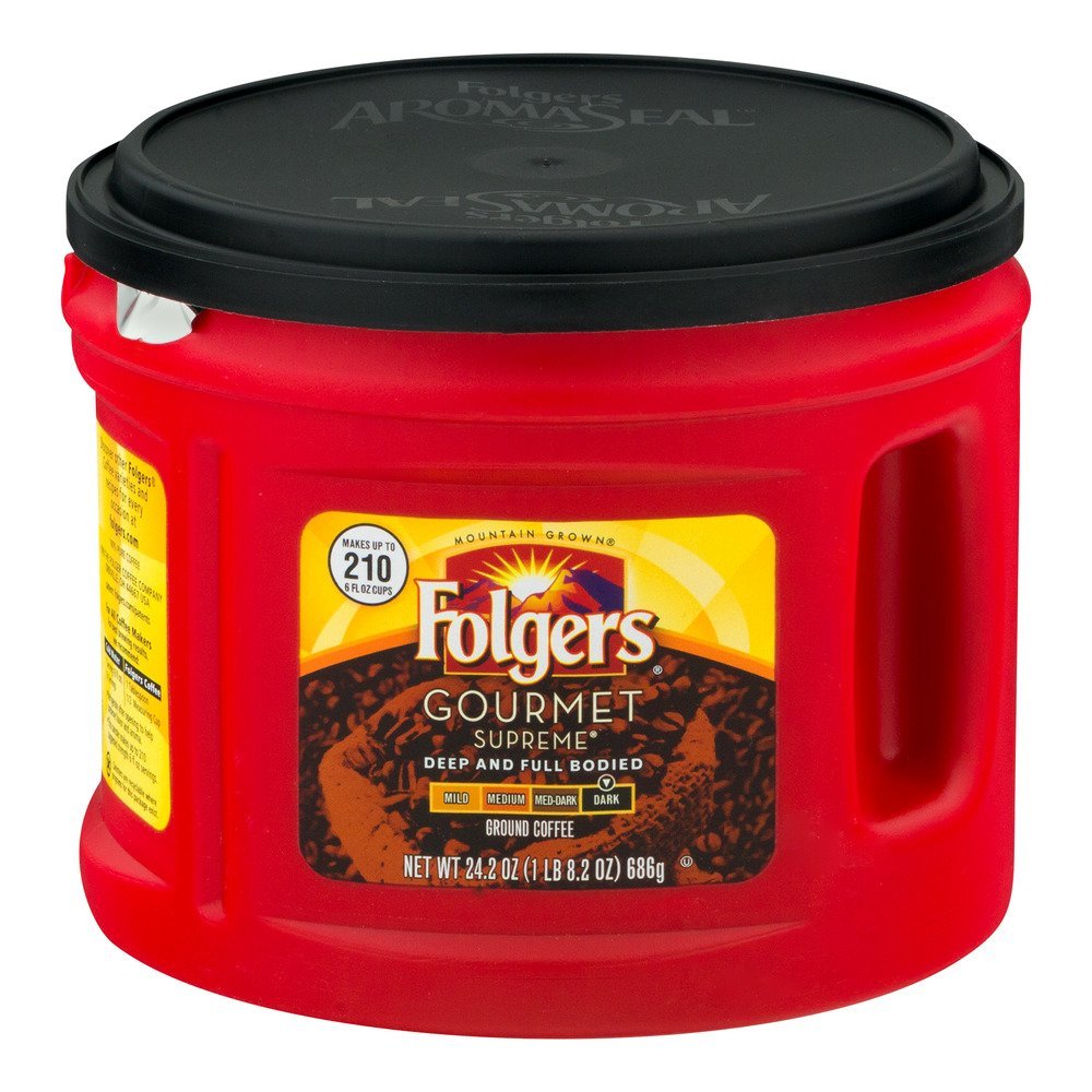 Folgers Gourmet Supreme Ground Coffee Dark, 24.2 OZ Tub (Pack of 3, Total of 72.6 Oz) by Folgers